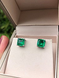 cheap -4 carat Synthetic Emerald Earrings Alloy For Women's Emerald cut Antique Luxury Wedding Party Evening Formal High Quality Pave 1 Pair