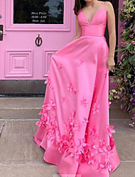 cheap -A-Line Floral Pink Engagement Prom Dress Spaghetti Strap Sleeveless Sweep / Brush Train Satin with Appliques 2020