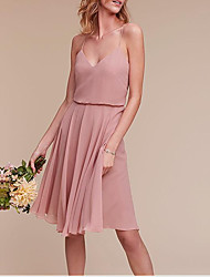 cheap -A-Line Spaghetti Strap Knee Length Chiffon Bridesmaid Dress with Pleats / Open Back
