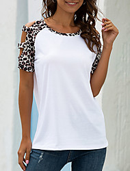 cheap -Women's Leopard Solid Colored Cut Out Patchwork Print T-shirt - Cotton Sexy Street chic Going out Club White / Black