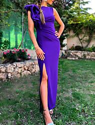 Недорогие -оборками сплит оболочка колонна элегантный минималистский безрукавка шеи до щиколотки спандекс вечернее платье выпускного вечера