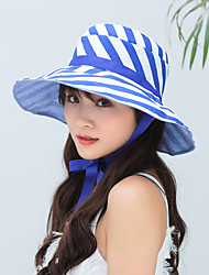 cheap -Hiking Hat Fishing Hat Fisherman Hat Hat 1 PCS Portable Sunscreen UV Resistant Breathable Stripes Cotton Autumn / Fall Spring Summer for Women's Camping / Hiking Hunting Fishing Purple Fuchsia Pink