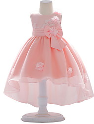 cheap -Ball Gown Court Train Wedding / Party Flower Girl Dresses - Satin / Tulle Sleeveless Jewel Neck with Bow(s) / Appliques