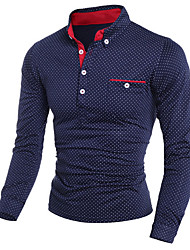 cheap -Men's Polka Dot Print Slim Polo Shirt Collar White / Black / Navy Blue / Long Sleeve