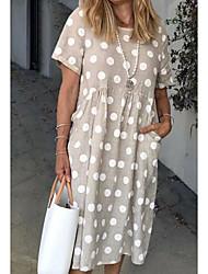 cheap -Women's Tunic Midi Dress - Short Sleeve Polka Dot Red Gray S M L XL XXL XXXL
