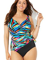 cheap -Women's Plus Size One-piece Swimwear Swimsuit - Color Block XL XXL XXXL Blue