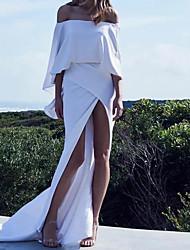 cheap -Sheath / Column Sexy White Party Wear Prom Dress Off Shoulder Long Sleeve Court Train Stretch Satin with Sleek Split 2020