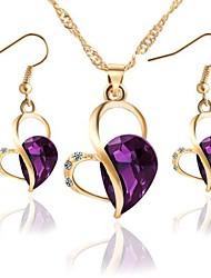 cheap -Women's Jewelry Set 3D Heart Stylish Classic Imitation Diamond Earrings Jewelry Blue / Purple / Green For Festival