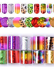 Недорогие -10 цветов / комплект блестящие наклейки для ногтей наклейки для переноса ногтей наклейки лазерные красочные леопардовым принтом наклейки для ногтей декор