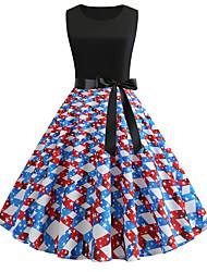 cheap -Women's A Line Dress - Sleeveless Striped Print Patchwork Print Spring & Summer Basic Street chic Party Daily Black S M L XL XXL / Cotton