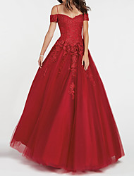 cheap -Ball Gown Spaghetti Strap Floor Length Tulle Floral / Red Engagement / Prom Dress with Lace Insert / Appliques 2020