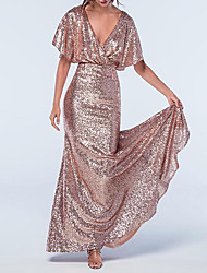 cheap -Sheath / Column V Neck Floor Length Stretch Satin / Sequined Bridesmaid Dress with Sequin / Sparkle & Shine