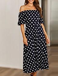 cheap -Women's A Line Dress - Half Sleeve Polka Dot Off Shoulder Black Brown S M L XL XXL