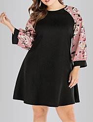 cheap -Women's Plus Size A Line Dress - Long Sleeve Floral Solid Color Print Spring & Summer Elegant Cute Daily Going out Belt Not Included Blushing Pink L XL XXL XXXL XXXXL