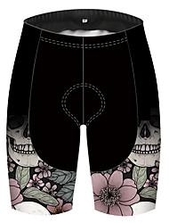 cheap -21Grams Women's Cycling Shorts Polyester Bike Shorts Padded Shorts / Chamois Pants Breathable 3D Pad Quick Dry Sports Skull Floral Botanical Rose Black Mountain Bike MTB Road Bike Cycling Clothing