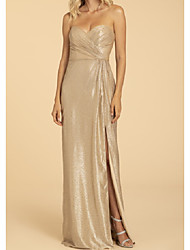 cheap -A-Line Off Shoulder Floor Length Georgette Bridesmaid Dress with Split Front / Ruching / Open Back