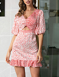 cheap -Women's A Line Dress - Short Sleeves Polka Dot Ruched Print Summer V Neck Casual Sexy Daily Holiday Lantern Sleeve Ruffle Blushing Pink S M L / Satin