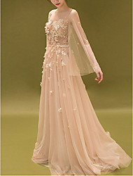 cheap -A-Line Elegant Floral Engagement Prom Dress Jewel Neck Long Sleeve Court Train Tulle with Lace Insert Appliques 2020