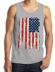 cheap -Men's Tank Top Shirt Geometric Sleeveless Sports Tops Round Neck Wine Gray White