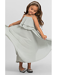 cheap -A-Line Floor Length Wedding / Party Flower Girl Dresses - Chiffon Sleeveless Spaghetti Strap with Tier / Solid