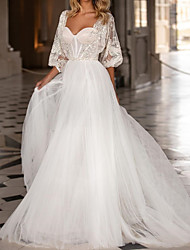 cheap -A-Line Wedding Dresses Scoop Neck Sweep / Brush Train Polyester 3/4 Length Sleeve Country Plus Size with Crystals 2020