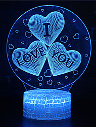 cheap -3D Night Light I Love You Illusion Optical Lamp LED Glowing 7 Colors Changing RGB Home Decor Bedroom Table Lights for Kids Adults Girls Heart