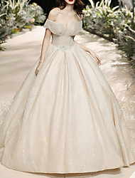 cheap -Ball Gown Off Shoulder Watteau Train Tulle Short Sleeve Formal Wedding Dress in Color Wedding Dresses with Crystal Brooch 2020