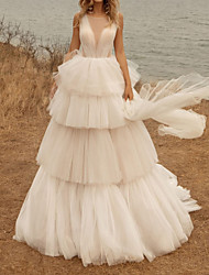 cheap -A-Line Wedding Dresses Jewel Neck Sweep / Brush Train Tulle Polyester Sleeveless Country Plus Size with Cascading Ruffles 2020
