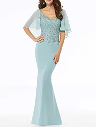 cheap -Mermaid / Trumpet Scalloped Neckline Sweep / Brush Train Chiffon Half Sleeve Sexy Mother of the Bride Dress with Beading / Appliques 2020