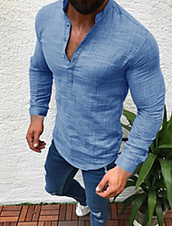 cheap -Men's Plus Size Solid Colored Shirt - Linen Daily Wear Round Neck White / Black / Gray / Light Blue / Long Sleeve