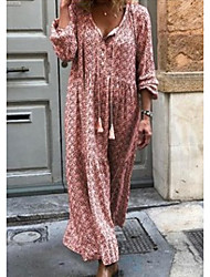 cheap -Women's Maxi Loose Dress - Long Sleeve Print V Neck Loose Purple Red Yellow Green Gray S M L XL XXL XXXL XXXXL XXXXXL / Cotton