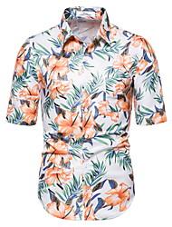 tanie -Męskie Kwiaty Geometric Shape Koszula Hawajskie Codzienny Biały
