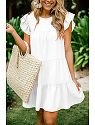 cheap -Women's A Line Dress - Short Sleeves Solid Color Wine White Black Purple S M L XL