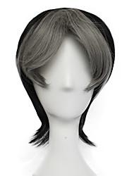 Недорогие -Седрик Косплэй парики Муж. Ассиметричная стрижка 11 дюймовый Термостойкое волокно Естественные прямые Разноцветный Черный Аниме