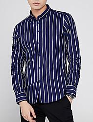 cheap -Men's Daily Work Business / Basic Shirt - Striped White