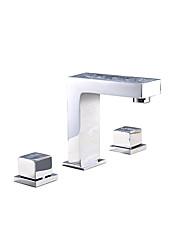 Недорогие -Смеситель для раковины в ванной комнате - Смеситель для раковины из хромированной твердой латуни. Две ручки, три отверстия, смеситель для горячей и холодной воды.