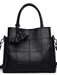 cheap -Women's Polyester / PU Top Handle Bag Leather Bags Solid Color Black / Red / Fall & Winter
