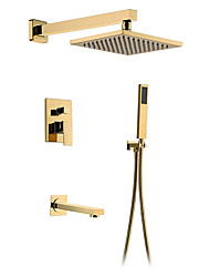 cheap -Shower Faucet - Gold Concealed Bath Shower Faucet 8 Inch Rainfall Square Showerhead Hot And Cold Bathroom Shower Mixer Tap Set