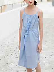 cheap -Kids Girls' Cute Street chic Striped Ruched Sleeveless Knee-length Dress Light Blue