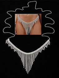 cheap -Belly Body Chain Body Chain Dangling Holiday European Women's Body Jewelry For Party Evening Holiday Link / Chain Synthetic Diamond Alloy Silver 1 Piece
