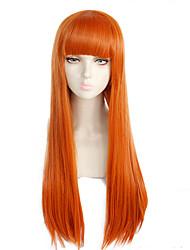 Недорогие -Персонажи Косплэй парики Жен. Прямая челка 26 дюймовый Термостойкое волокно Естественные прямые Оранжевый Оранжевый Аниме