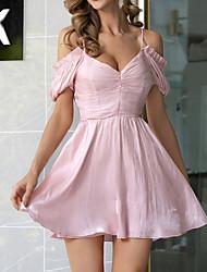 cheap -Women's A Line Dress - Short Sleeves Print Backless Ruffle Summer Off Shoulder Strap Elegant Mumu Holiday Going out Lantern Sleeve Belt Not Included Off Shoulder Blushing Pink S M L