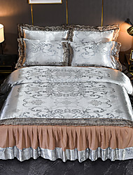 cheap -Duvet Cover 4 Piece Full/Queen Tencel Modal Satin Jacquard Bedspread Embroidery Bedding Luxury European Neoclassical Style Jacquard Lace Sheets Lace Wedding European Bed Skirt Bedding Set