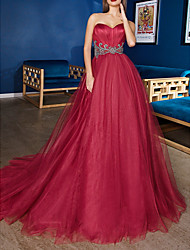 cheap -Ball Gown Minimalist Red Engagement Formal Evening Dress Sweetheart Neckline Sleeveless Sweep / Brush Train Satin Tulle with Sash / Ribbon 2020