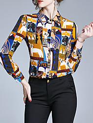Недорогие -Жен. Животное Пэчворк С принтом Рубашка Элегантный стиль Винтаж Повседневные Рубашечный воротник Желтый