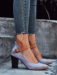cheap -Women's Sandals Chunky Heel Closed Toe PU Summer Purple / Khaki / Gray
