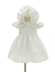 cheap -A-Line Ankle Length First Communion Christening Gowns - Polyester Short Sleeve Jewel Neck with Lace / Bow(s) / Appliques