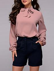 Недорогие -Жен. Однотонный Блуза Изысканный и современный На каждый день Свидание Лиловый / Темно-лиловый: / Розовый