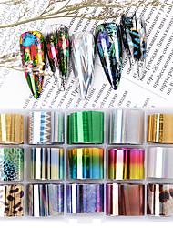 Недорогие -15 рулон / комплект голографический перевод ногтей наклейки фольги наклейка звездные ab бумажные обертки клей наклейки наклейки украшения ногтей аксессуары