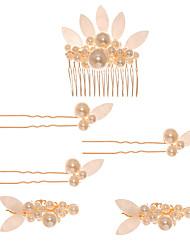 Недорогие -имитация жемчуга / горный хрусталь / диадемы из сплава / костюмы с рассеянным бисером в цветочном стиле / цветок 3 шт. свадьба / головной убор на день рождения